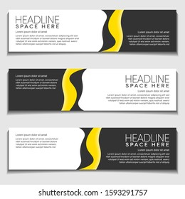 Yellow Light Gradient Wavy, Wave, Liquid, Fluid Modern Abstract Web Banner for Header,  Advertising, Publication.Blank Space Design Vector Template, Mockup.