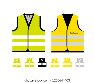Yellow and light green reflective vests, as a symbol of protests in France against rising fuel prices. Yellow jacket revolution. Vector illustration on white