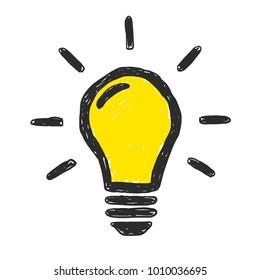 Yellow lightbulb vector doodle illustration