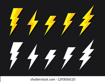 Yellow lighting strike simple vector icon isolated. Battery charger pictogram, lightning bolt concept or thunderbolt symbol