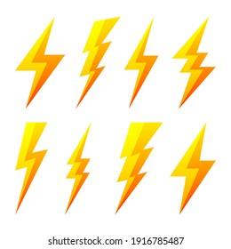 Yellow lightning bolt icons isolated on white background. Flash symbol, thunderbolt. Simple lightning strike sign. Vector illustration.