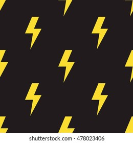 Yellow lightning bolts on black background. Seamless pattern in comic style. Vector illustration.