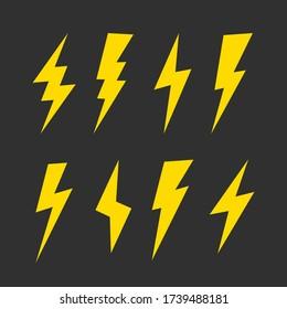 Yellow Lightning bolts, Thunderbolts, lightning strikes icon set. Thunderbolt icons isolated on black background. Vector illustration