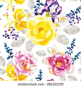 Yellow and lilac flowers with gray leaves and floral elements on the white background. Watercolor seamless pattern with summer flowers. Roses, irises and lilies.