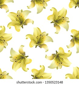 Yellow Lilium. Vector illustration. Floral botanical flower. Wild leaf wildflower isolated. Exotic tropical hawaiian jungle. Seamless background pattern. Fabric wallpaper print texture.