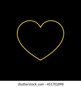 Yellow line icon of Heart on black background. EPS-10.