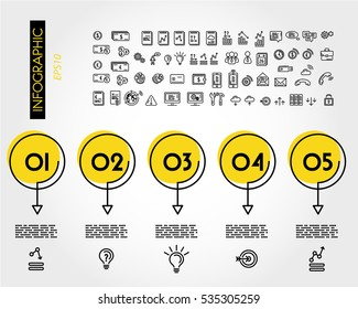 yellow linear infographic set of circles with arrows, outline concept