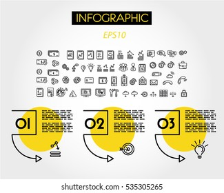 yellow linear infographic squares with arc, outline concept