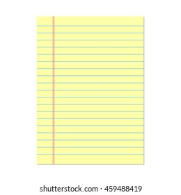 Yellow lined paper. Notebook paper