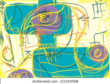 yellow lines describing female eye and body part, lines circles and rectangles