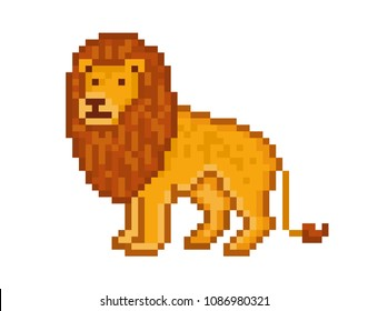Yellow lion, cartoon pixel art character isolated on white background.Safari animal.Zoo logo.Symbol of Africa. Wildlife carnivore.Old school 8 bit slot machine icon.Retro 80s-90s video game graphics.