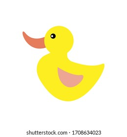 Yellow Little Duck Flat Design.