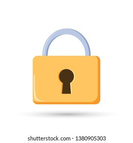 Yellow lock icon. Safety concept. Secutiry protection sign. Vector illustration.