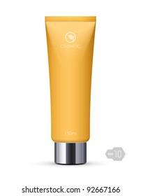 黄色い長い清潔なクリームのチューブ:ベクター画像版