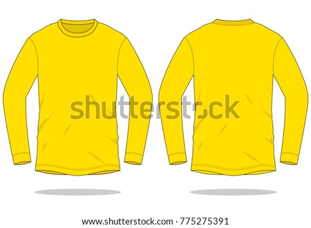 yellow long sleeve t shirt template stock vector royalty free