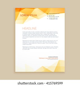 yellow low poly business letterhead