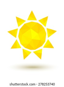 Yellow low poly sun as summer symbol