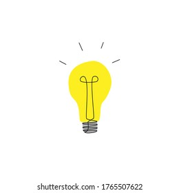 Yellow luminous lamp, hand-drawn. Concept of brainstorm, imagination, good advice, discovery image, thinking process. art element of clipart in cartoon style. simple yellow sign isolated on white