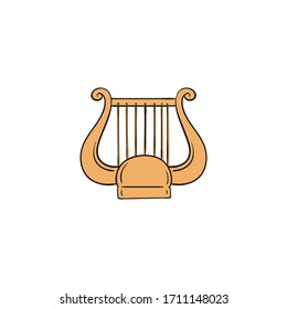 Yellow lyre icon - harp like string music instrument from Ancient Greece isolated on white background. Flat vector illustration of antique Greek musical instrument.