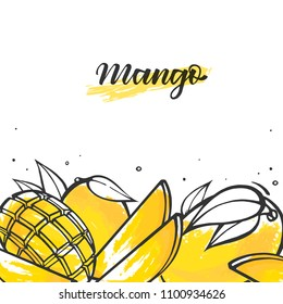 Yellow mango exotic fruit in doodle style. Isolated vector illustration with calligraphy.