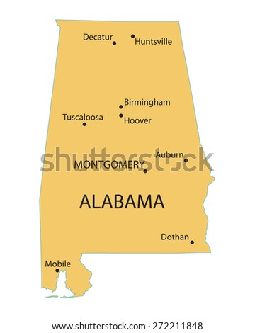 Yellow Map Alabama Indication Largest Cities Stock Vector (Royalty ...