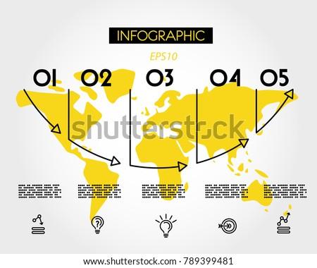 yellow map arrow arc concept options のベクター画像素材