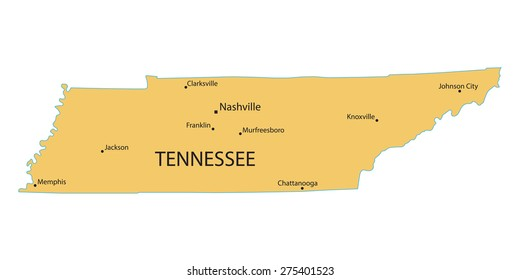 Yellow Map Tennessee Indication Largest Cities Stock Vector (Royalty ...