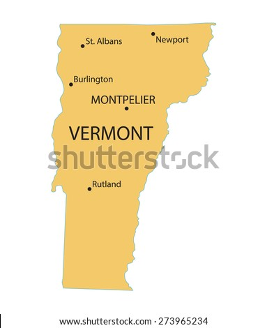Yellow Map Vermont Indication Largest Cities Stock Vector (Royalty ...
