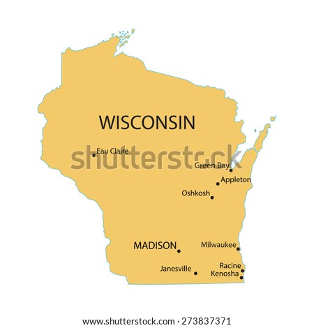 Yellow Map Wisconsin Indication Largest Cities Stock Vector (Royalty ...