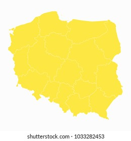 Yellow map-Poland map. Each city and border has separately for your infographics and earth template for website. Vector illustration eps 10.
