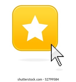 Yellow matted button with star symbol and cursor arrow on white
