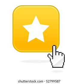 Yellow matted button with star symbol and cursor hand on white