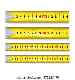 Yellow Measure Tape Vector. Centimeter And Inch. Measure Tool Equipment Illustration Isolated On White Background. Several Variants, Proportional Scaled.