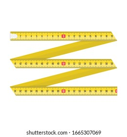 Yellow Measuring tape for tool roulette or ruler. Tape measure template in centimeters. Tapes meter set isolated on white background. Vector illustration in realistic style. EPS 10.