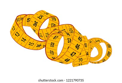 Yellow measuring tape vector isolated on white background. Spiral fashion tape measure vector illustration. Construction, engineering, repair concept. Fashion work instrument. Sartorial meter.