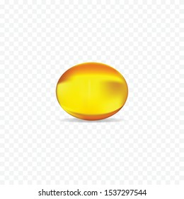 Yellow medical capsule of drug, vitamin A,E or fish oil vector illustration
