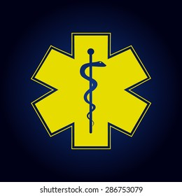 Yellow Medical symbol of the Emergency - Star of Life - icon isolated  on a blue background