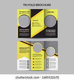 Yellow Medical Trifold Brochure Template, vector Design.