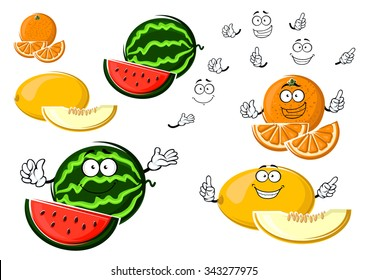 Yellow melon, orange and green striped watermelon fruit cartoon characters with sweet juicy slices and happy smiles, for agriculture or dessert food design