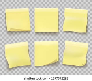 Yellow memo reminder papers. Paper sticky note pieces isolated on transparent, office yellow noticeboard messages, blank post stickies