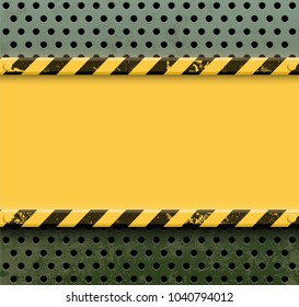 Yellow metal plate with screws on a perforated steel wall with holes. Industrial background. Stock vector illustration.