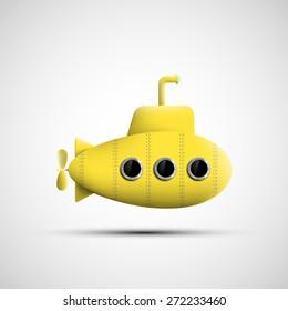 Yellow metal submarine. Vector image.