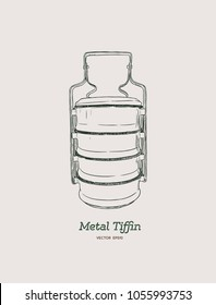 Yellow metal Tiffin,thai food carrier, hand draw sketch vector.