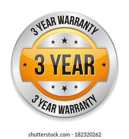 Yellow metallic three year warranty button