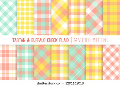 Yellow, Mint and Coral Tartan and Gingham Check Plaid Vector Patterns. Pastel Easter Colors. Living Coral - 2019 Color of the Year. Hipster Flannel Shirt Fabric Prints. Pattern Tile Swatches Included.