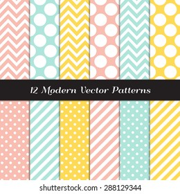 Yellow, Mint, Coral and White Polka Dots, Chevron and Candy Stripes Patterns. Modern Geometric Backgrounds. Vector EPS File Pattern Swatches made with Global Colors.