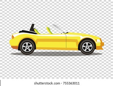 Yellow modern cartoon colored cabriolet car isolated on transparent background. Sport car without roof vector illustration. Clip art.