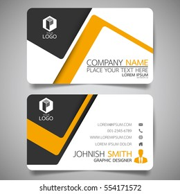 Yellow modern creative business card and name card,horizontal simple clean template vector design, layout in rectangle size.