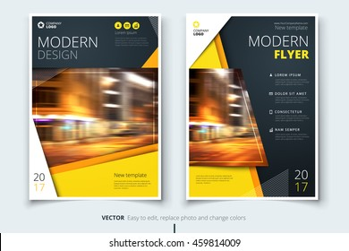 Yellow modern Flyer design. Corporate business template for brochure, report, catalog, magazine. Layout with bright color and abstract city photo placeholder. Leaflet, poster, flier or banner concept