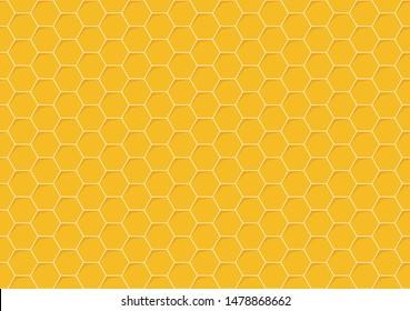 Yellow monochrome hexagon honeycomb seamless pattern. Honey background, cell mosaic.